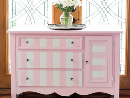 How to Paint a Pink and White Striped Dresser