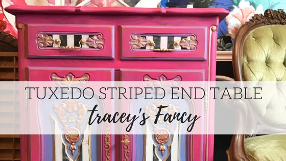 Tuxedo Striped End Table – Tracey's Fancy