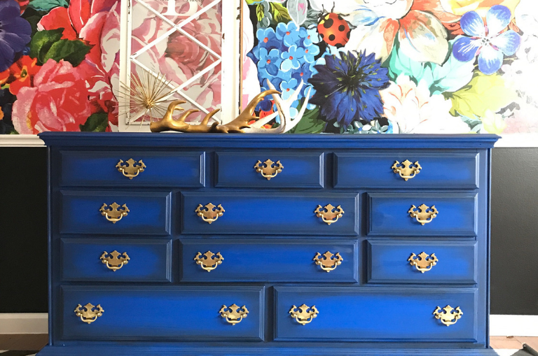 How to Paint a Cobalt Dresser