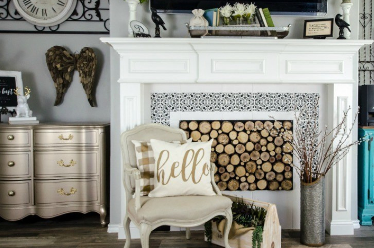How to Paint Fireplace Tiles with a Stencil