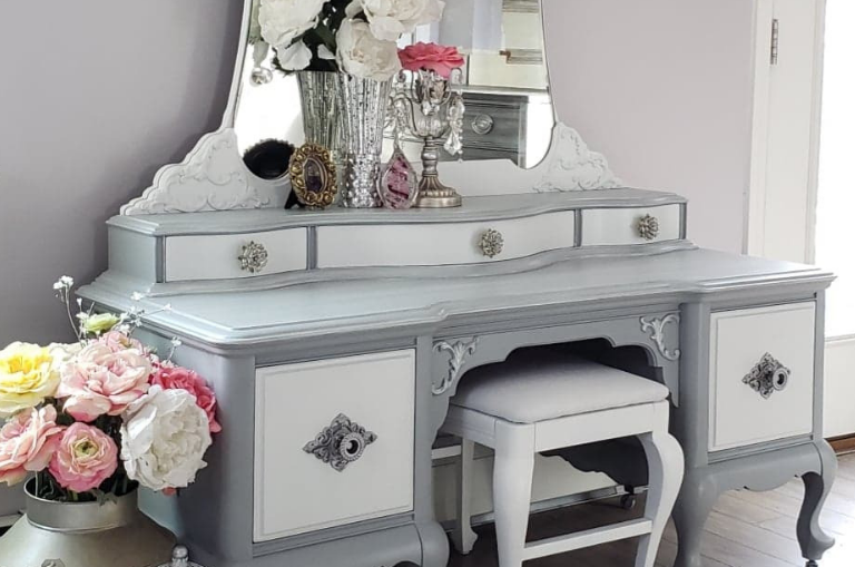 How to Paint a Stunning Silver Vanity