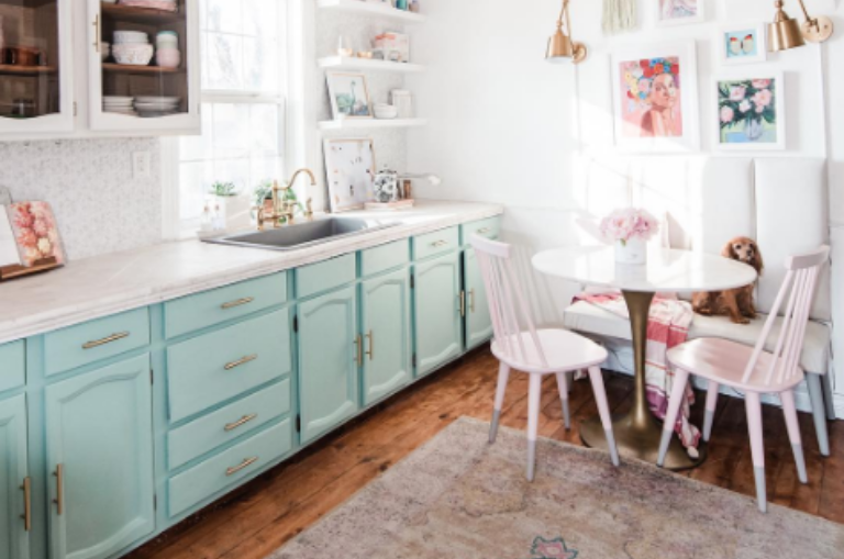 How To Paint Your Kitchen Cabinets with Sea Glass