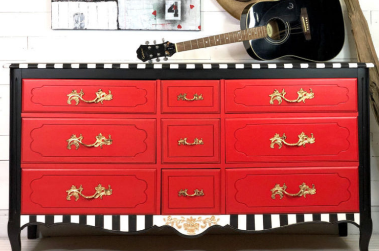 How to Paint a Whimsical Red Dresser