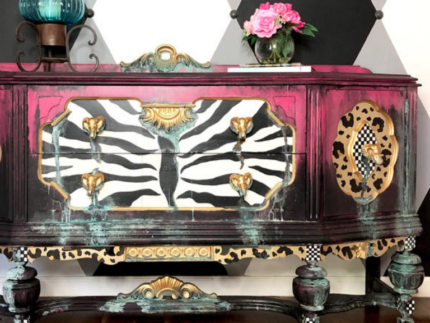 How to Paint a Leopard Patina Grunge Buffet
