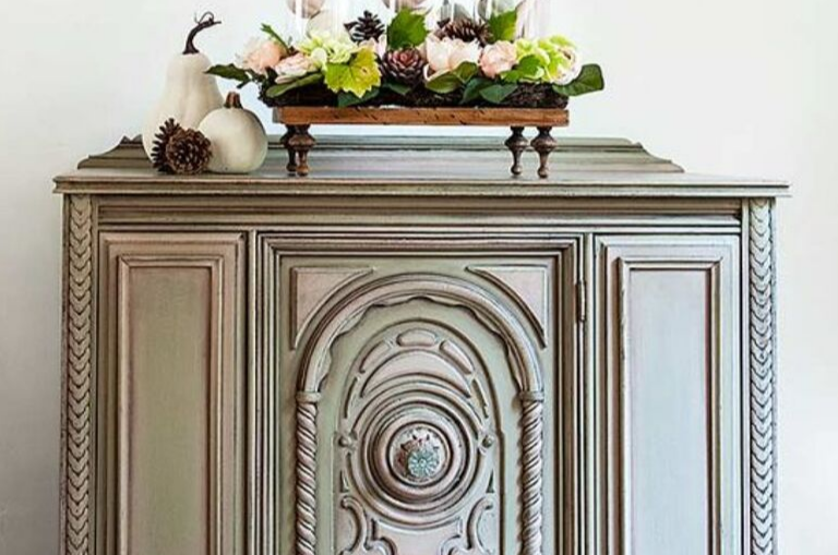 How to Paint a Fall Style Buffet