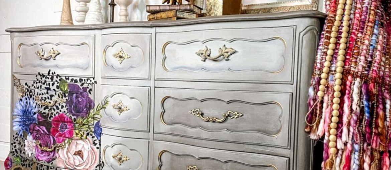 Paint a Leopard Floral Dresser