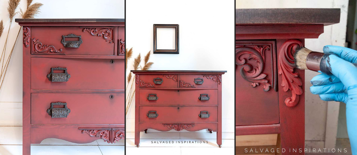 Rustic Red Painted Dresser