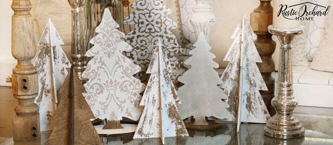 Stenciled Wooden Christmas Trees