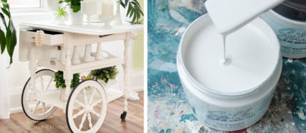 Tea Cart Makeover with Silk Paint