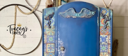 Mediterranean Armoire with Silk Paint and Decoupage