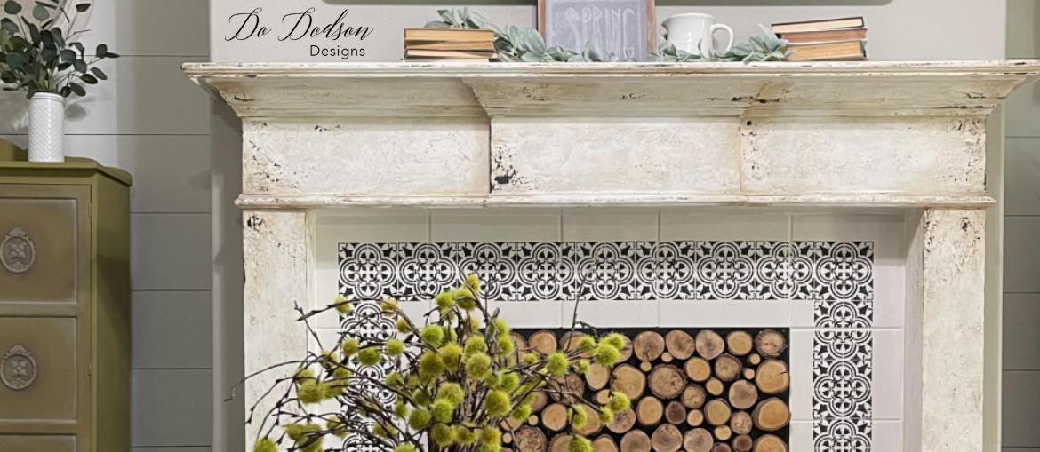 Weathered Fireplace Mantel Makeover