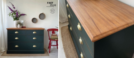 DIY Rustic Emerald Green Dresser